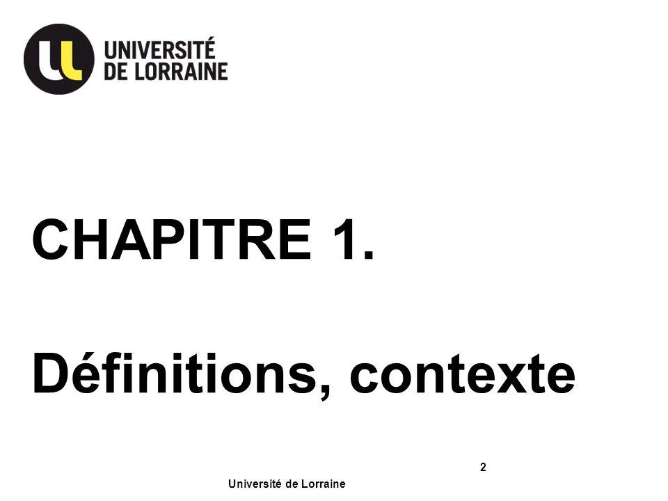 CHAPITRE 1. Définitions, contexte