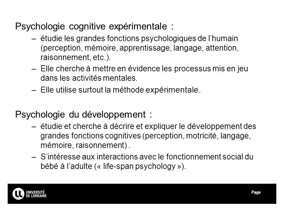 Psychologie cognitive expérimentale :