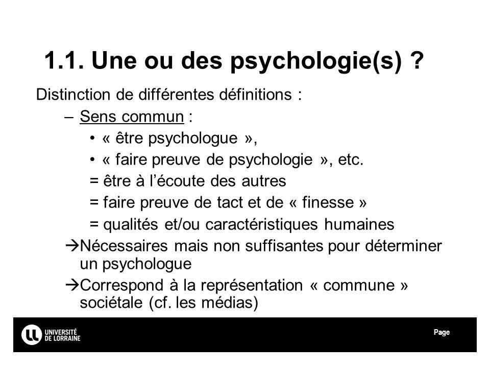1.1. Une ou des psychologie(s)