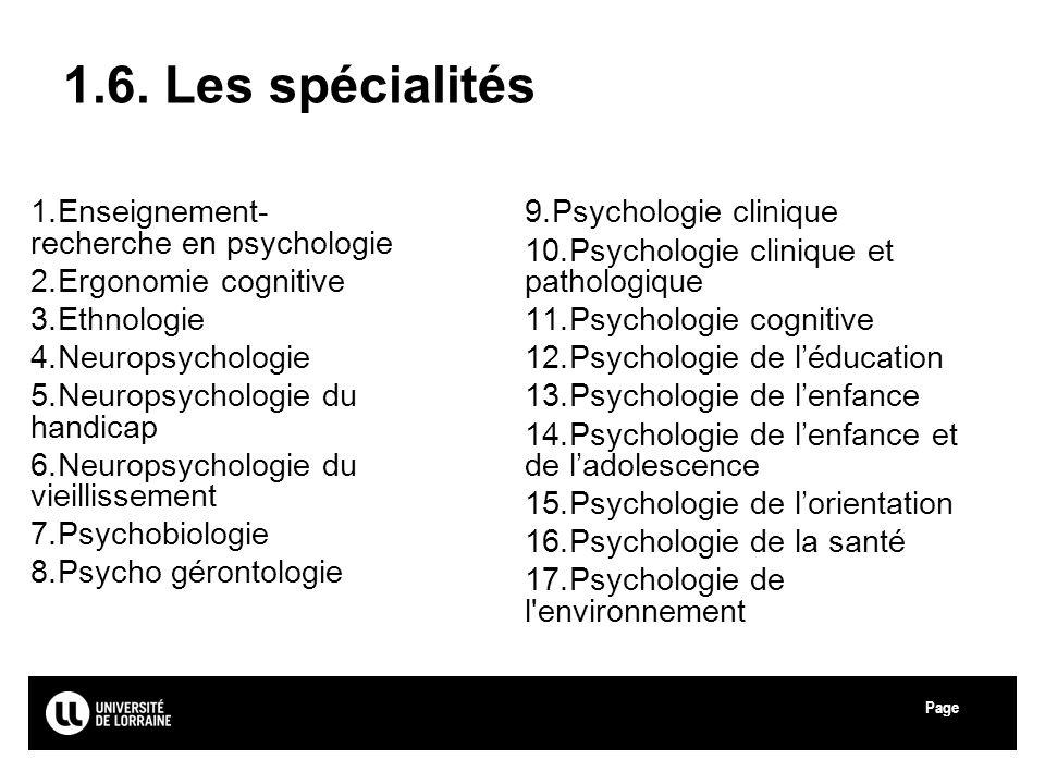 1.6. Les spécialités Enseignement-recherche en psychologie