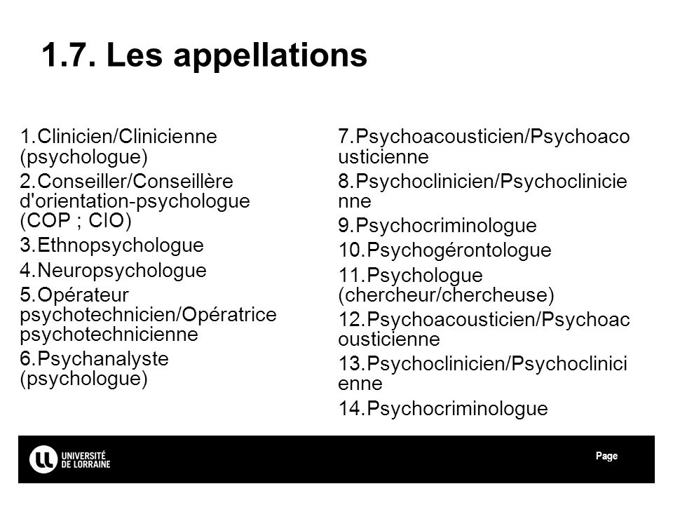 1.7. Les appellations Clinicien/Clinicienne (psychologue)