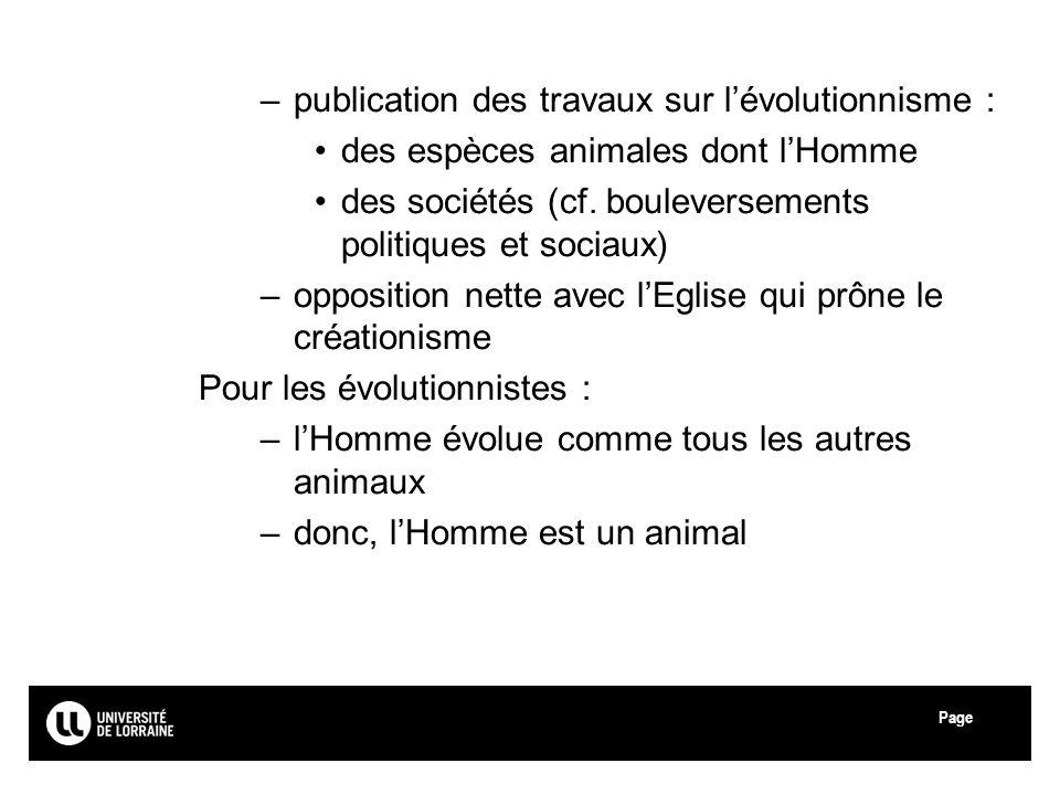 publication des travaux sur l'évolutionnisme :