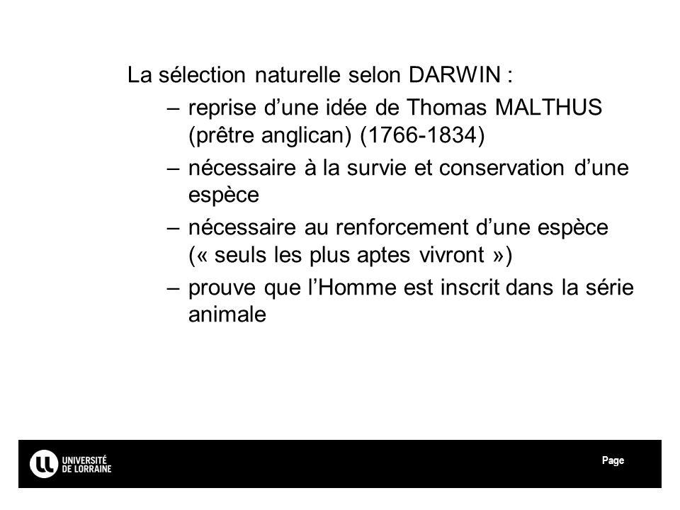 La sélection naturelle selon DARWIN :