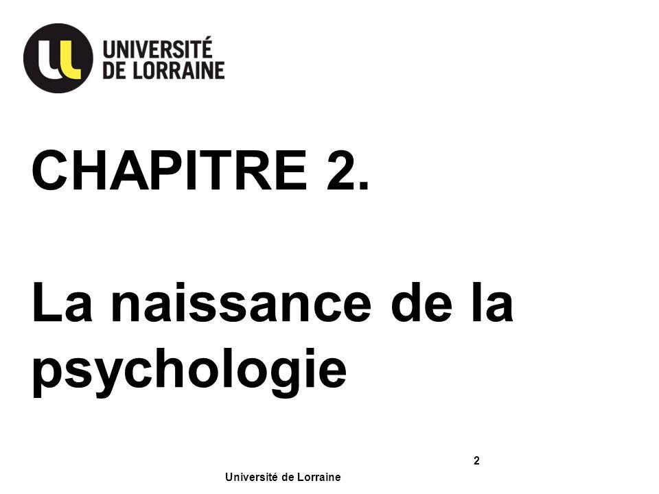 CHAPITRE 2. La naissance de la psychologie