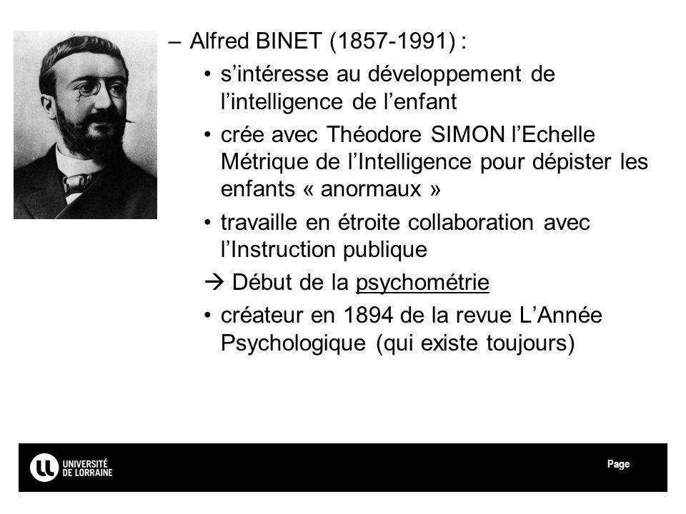 Alfred BINET (1857-1991) : s'intéresse au développement de l'intelligence de l'enfant.