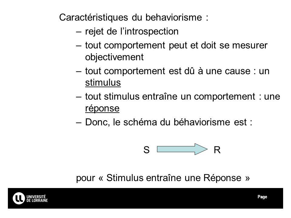 Caractéristiques du behaviorisme :