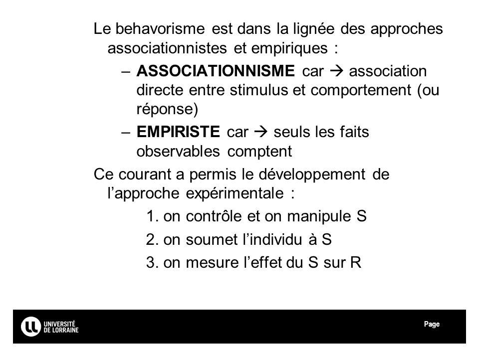 Le behavorisme est dans la lignée des approches associationnistes et empiriques :