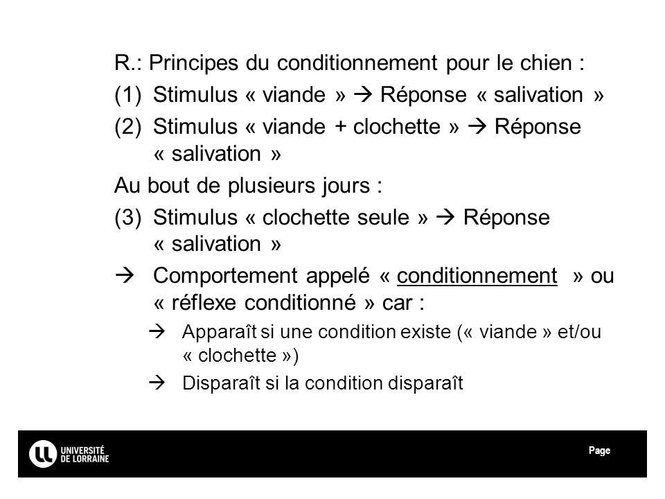 R.: Principes du conditionnement pour le chien :