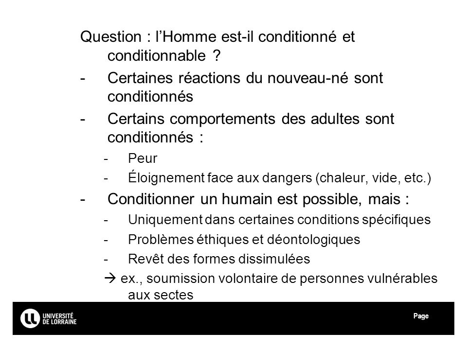 Question : l'Homme est-il conditionné et conditionnable