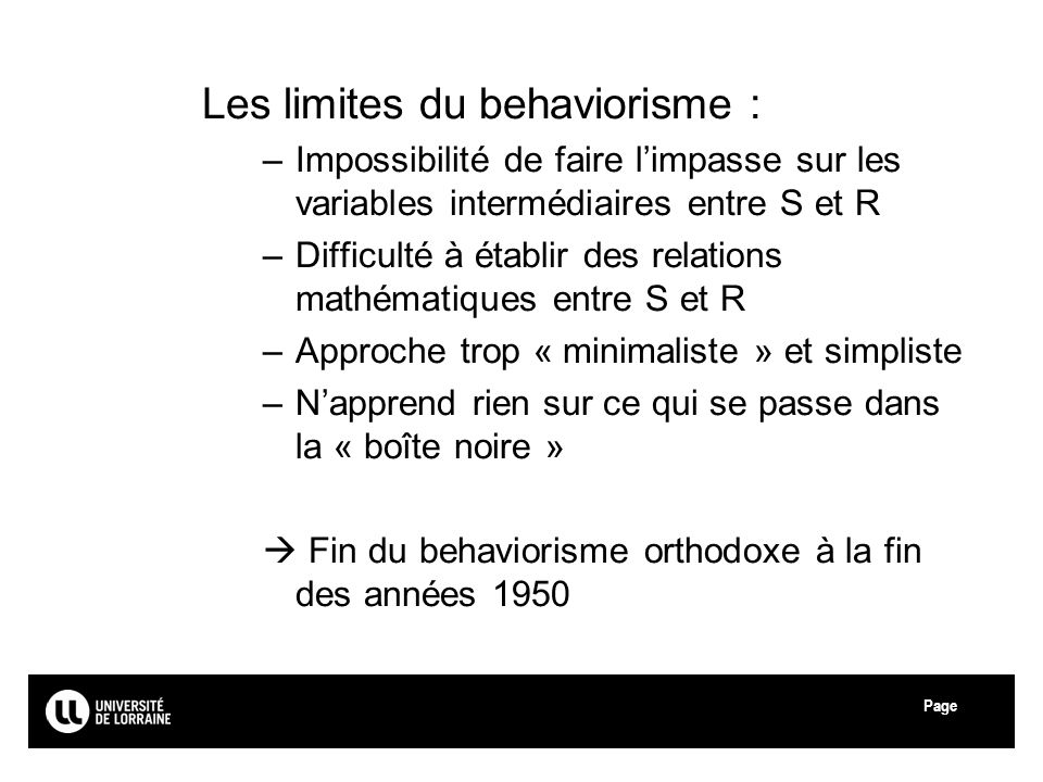 Les limites du behaviorisme :