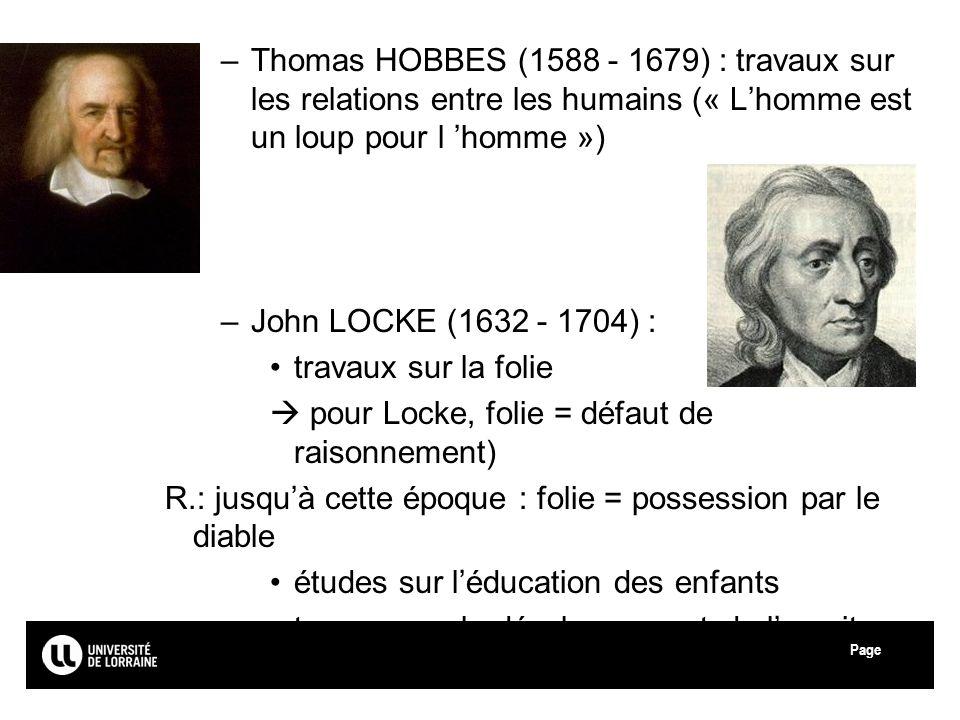 Thomas HOBBES (1588 - 1679) : travaux sur les relations entre les humains (« L'homme est un loup pour l 'homme »)