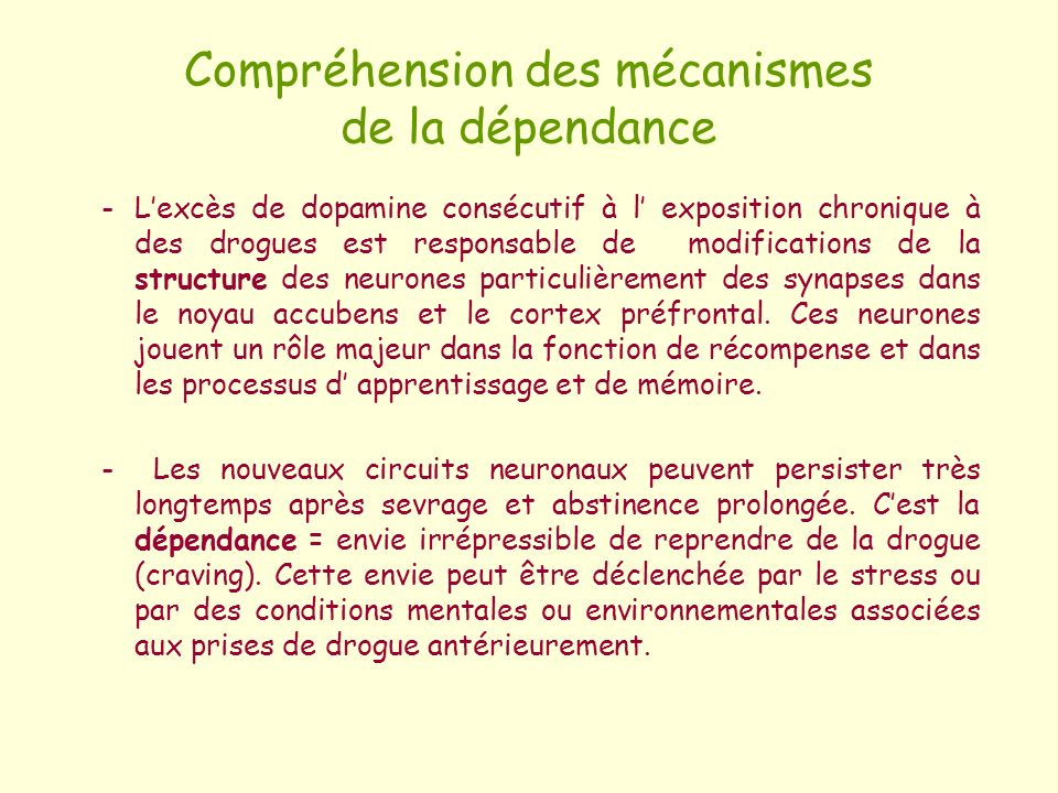 Compréhension des mécanismes de la dépendance