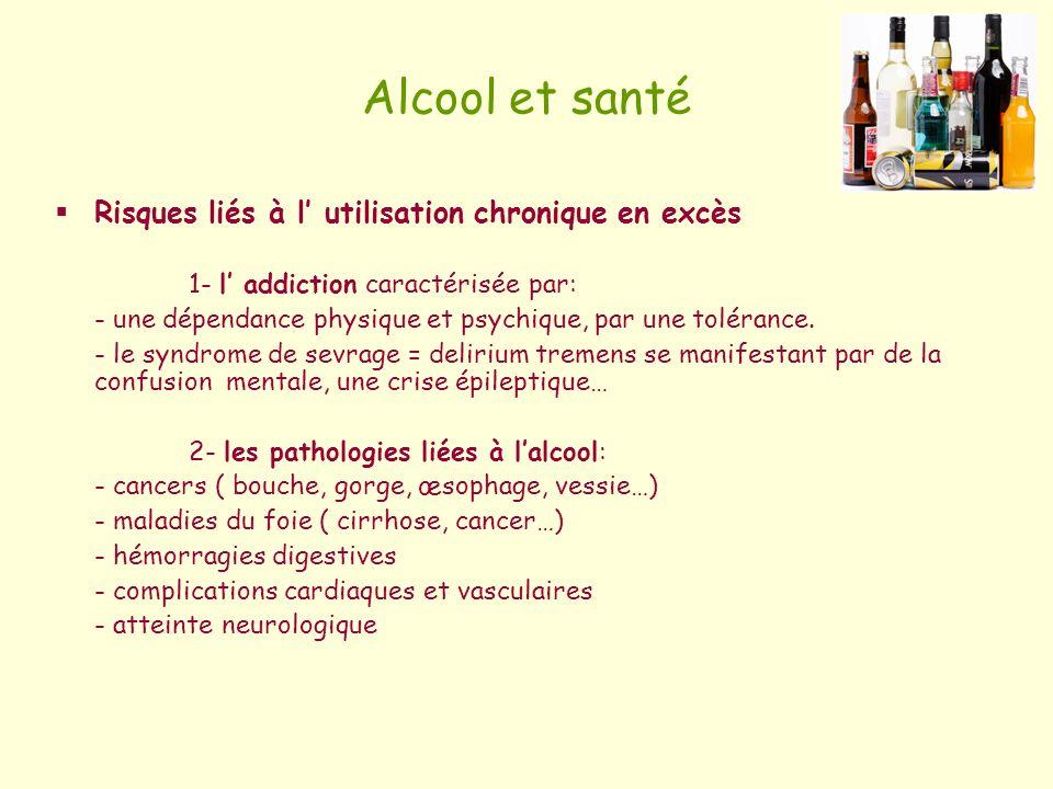 Alcool et santé Risques liés à l' utilisation chronique en excès