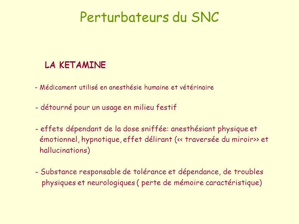Perturbateurs du SNC LA KETAMINE