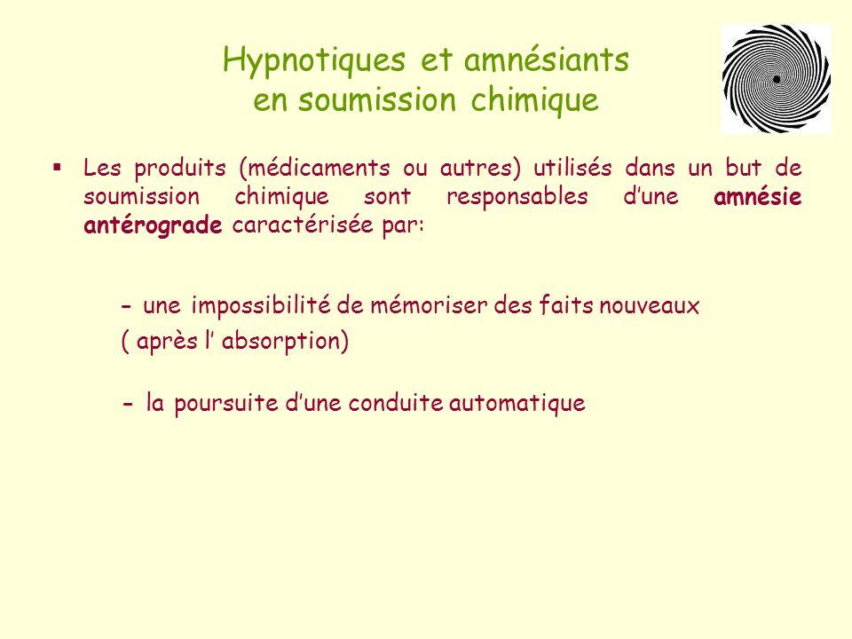 Hypnotiques et amnésiants en soumission chimique