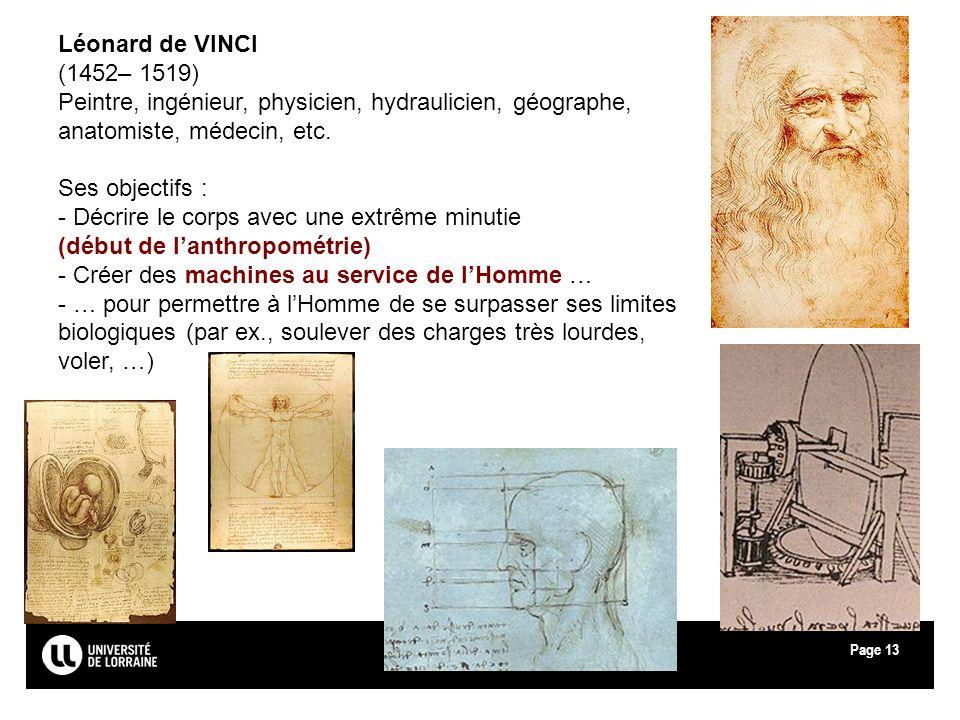 Léonard de VINCI(1452– 1519) Peintre, ingénieur, physicien, hydraulicien, géographe, anatomiste, médecin, etc.