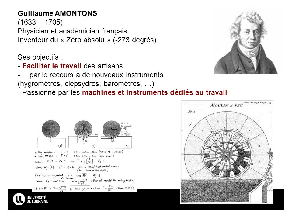 Guillaume AMONTONS (1633 – 1705) Physicien et académicien français. Inventeur du « Zéro absolu » (-273 degrés)