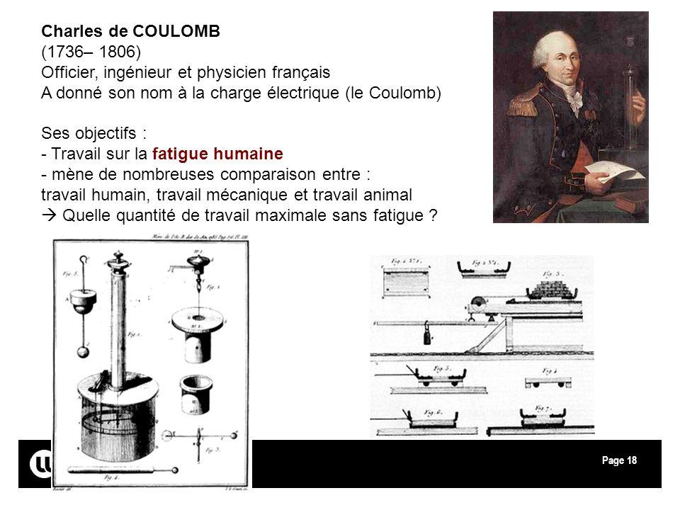 Charles de COULOMB (1736– 1806) Officier, ingénieur et physicien français. A donné son nom à la charge électrique (le Coulomb)