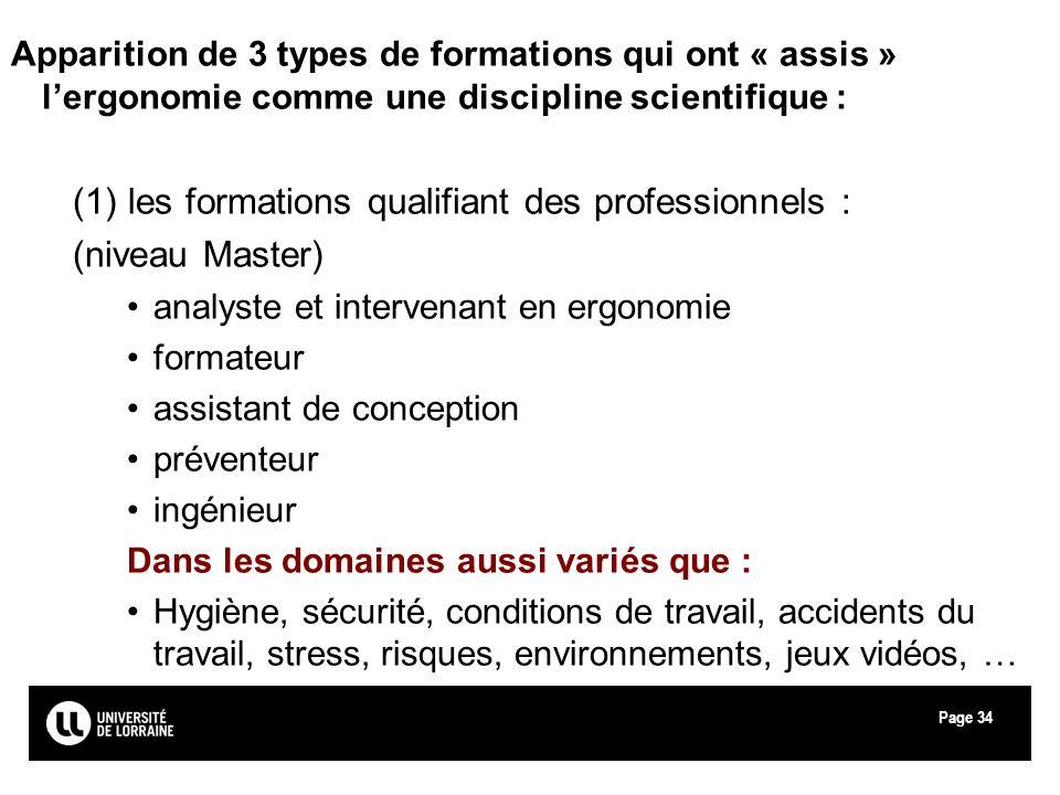 (1) les formations qualifiant des professionnels : (niveau Master)