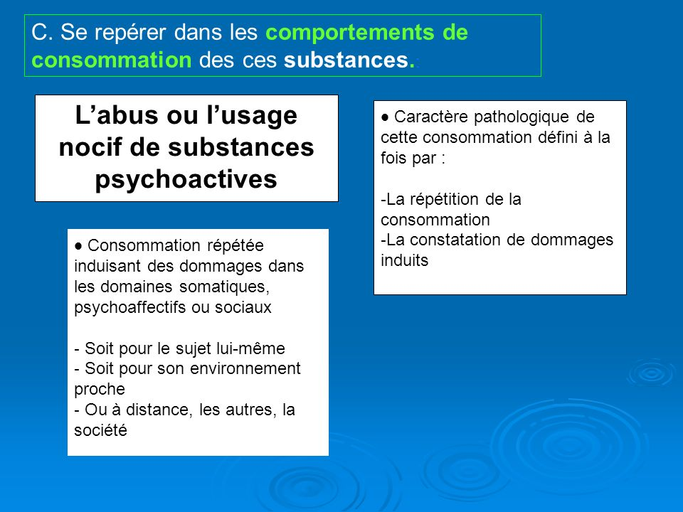 L'abus ou l'usage nocif de substances psychoactives