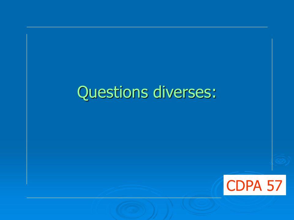 Questions diverses: CDPA 57