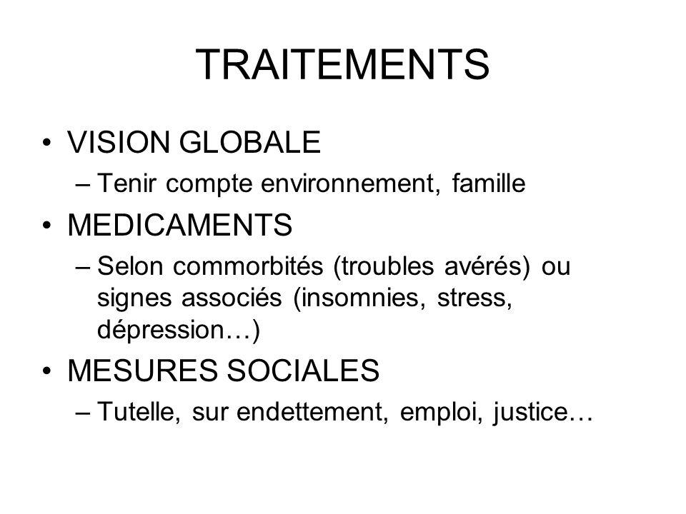 TRAITEMENTS VISION GLOBALE MEDICAMENTS MESURES SOCIALES