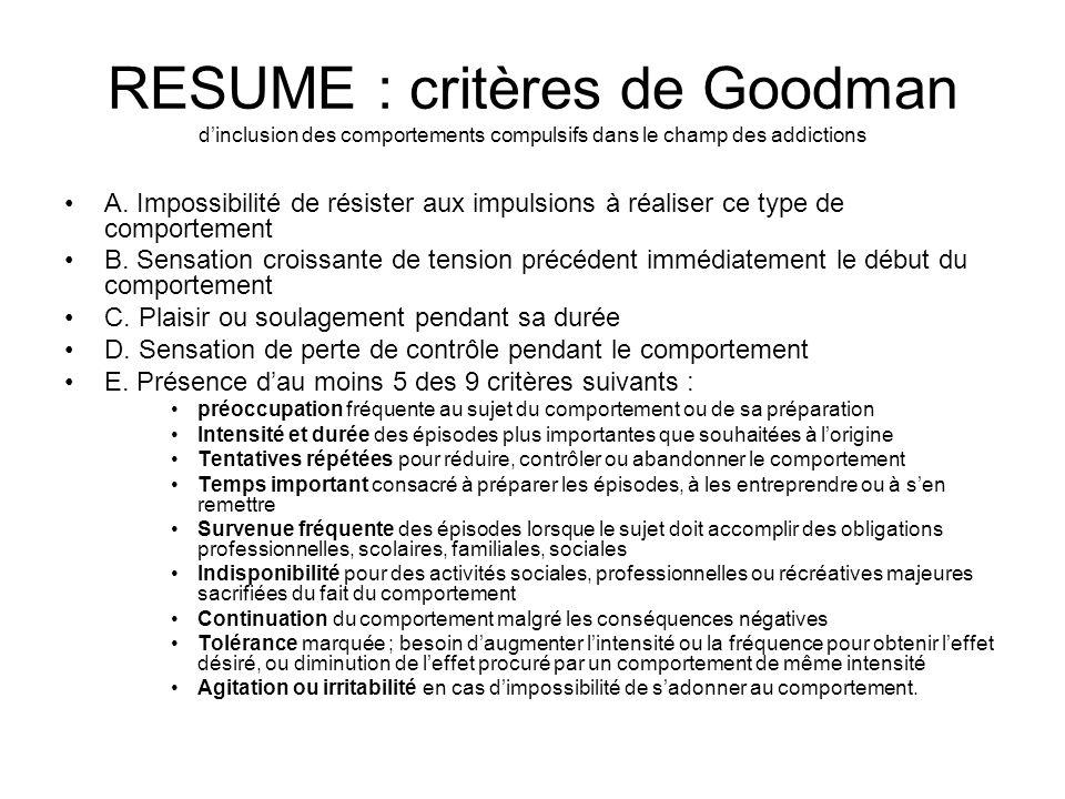 RESUME : critères de Goodman d'inclusion des comportements compulsifs dans le champ des addictions