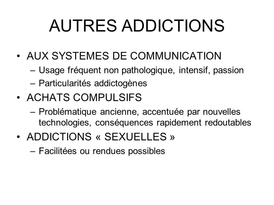 AUTRES ADDICTIONS AUX SYSTEMES DE COMMUNICATION ACHATS COMPULSIFS