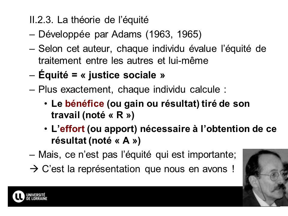 II.2.3. La théorie de l'équité Développée par Adams (1963, 1965)