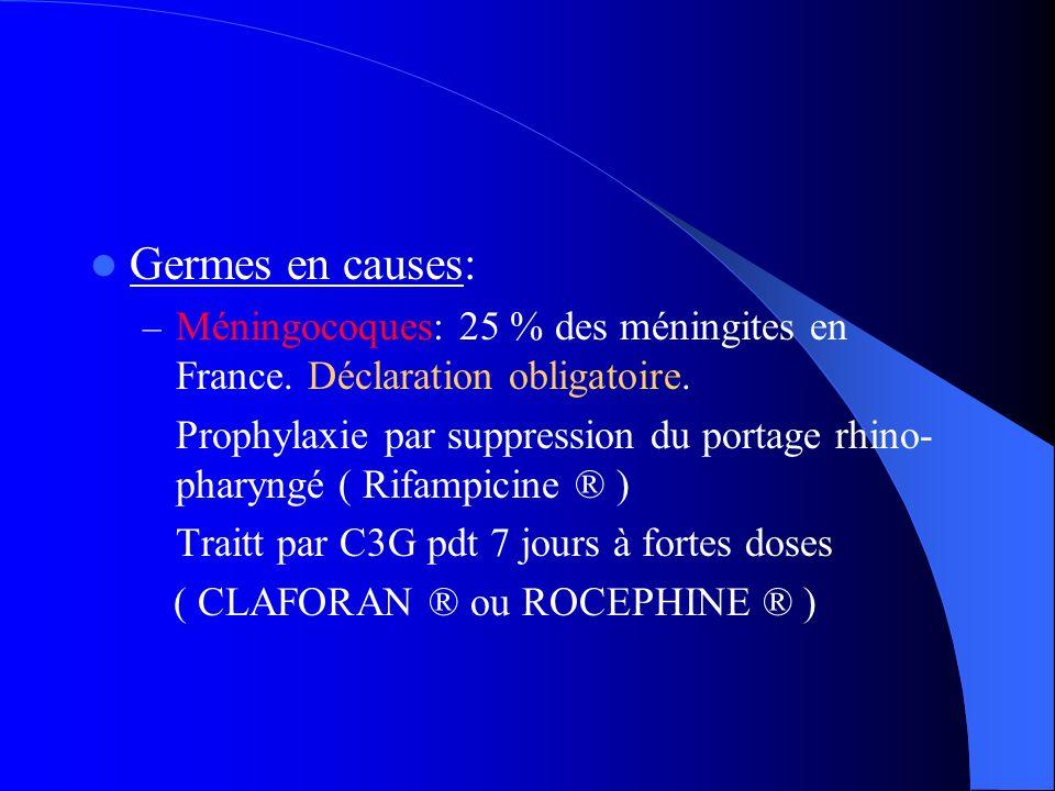 Germes en causes: Méningocoques: 25 % des méningites en France. Déclaration obligatoire.