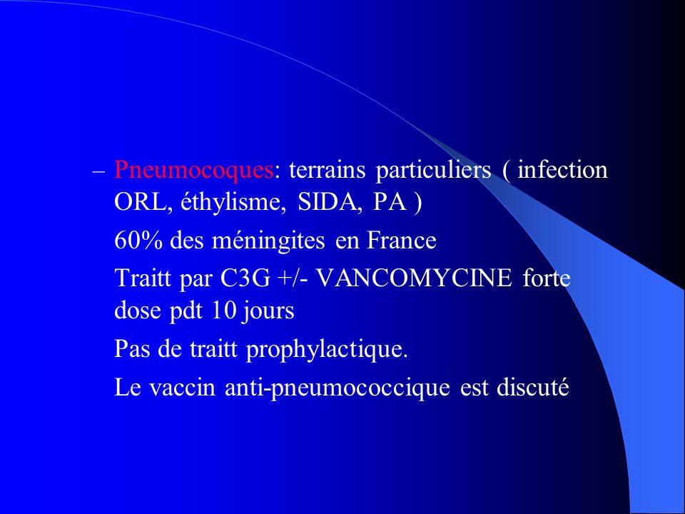 Pneumocoques: terrains particuliers ( infection ORL, éthylisme, SIDA, PA )