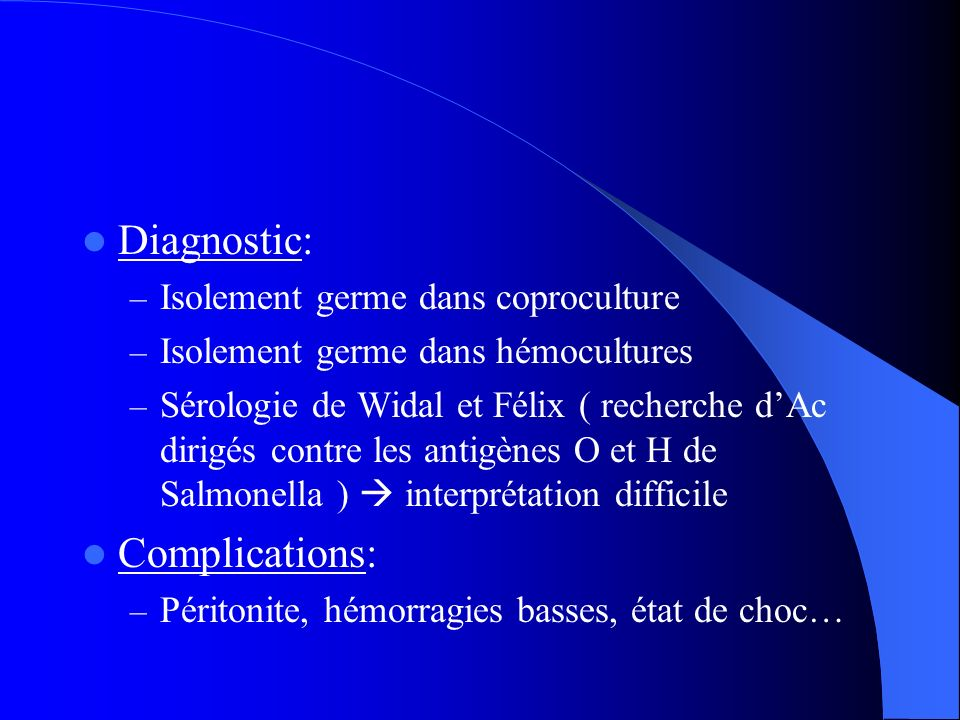 Diagnostic: Complications: Isolement germe dans coproculture