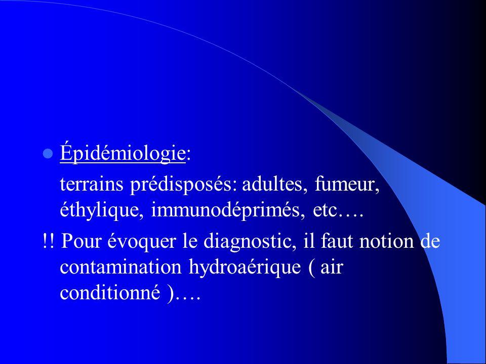 Épidémiologie: terrains prédisposés: adultes, fumeur, éthylique, immunodéprimés, etc….