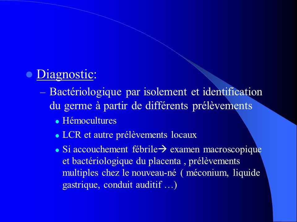 Diagnostic: Bactériologique par isolement et identification du germe à partir de différents prélèvements.