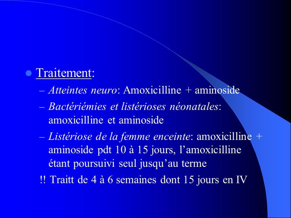 Traitement: Atteintes neuro: Amoxicilline + aminoside