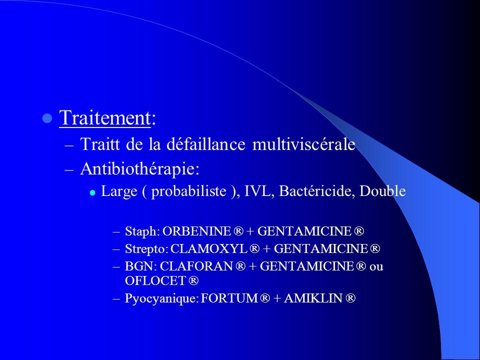 Traitement: Traitt de la défaillance multiviscérale Antibiothérapie: