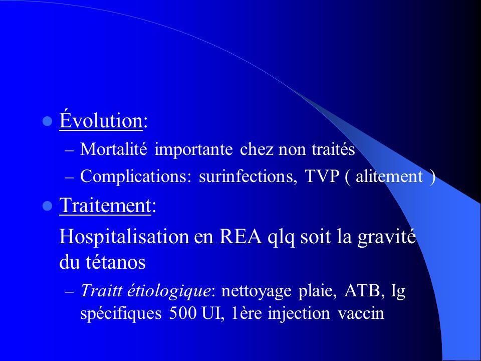 Hospitalisation en REA qlq soit la gravité du tétanos