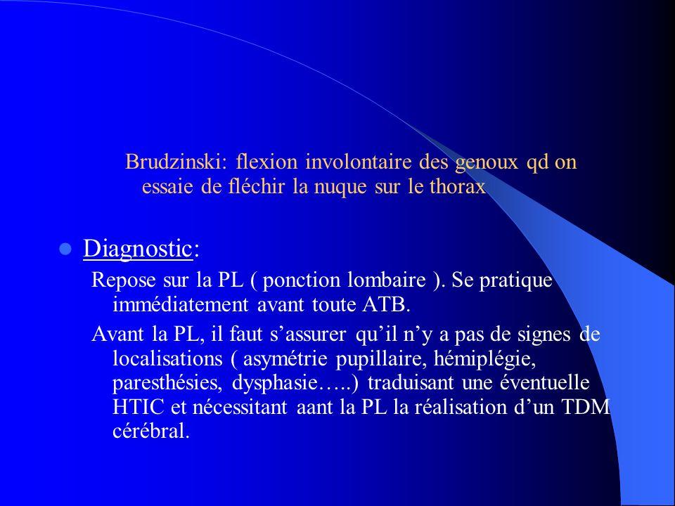 Brudzinski: flexion involontaire des genoux qd on essaie de fléchir la nuque sur le thorax