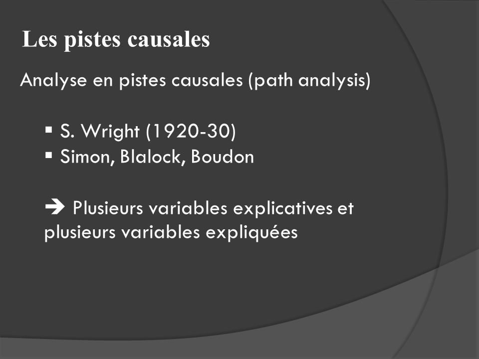 Les pistes causales Analyse en pistes causales (path analysis)