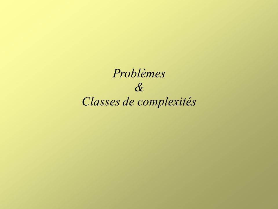 Problèmes & Classes de complexités