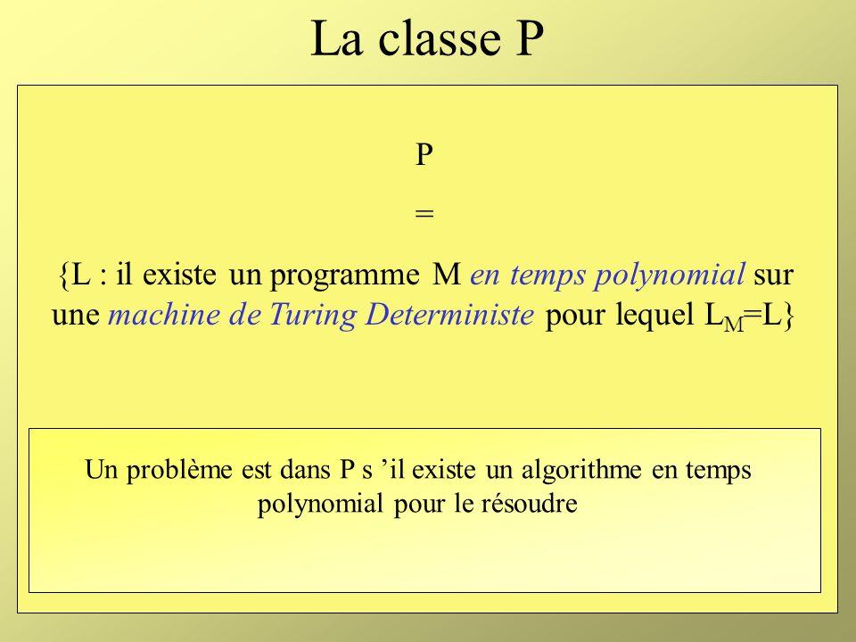 La classe P P. = {L : il existe un programme M en temps polynomial sur une machine de Turing Deterministe pour lequel LM=L}