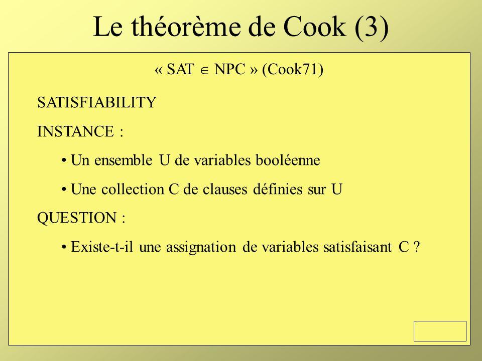 Le théorème de Cook (3) « SAT  NPC » (Cook71) SATISFIABILITY