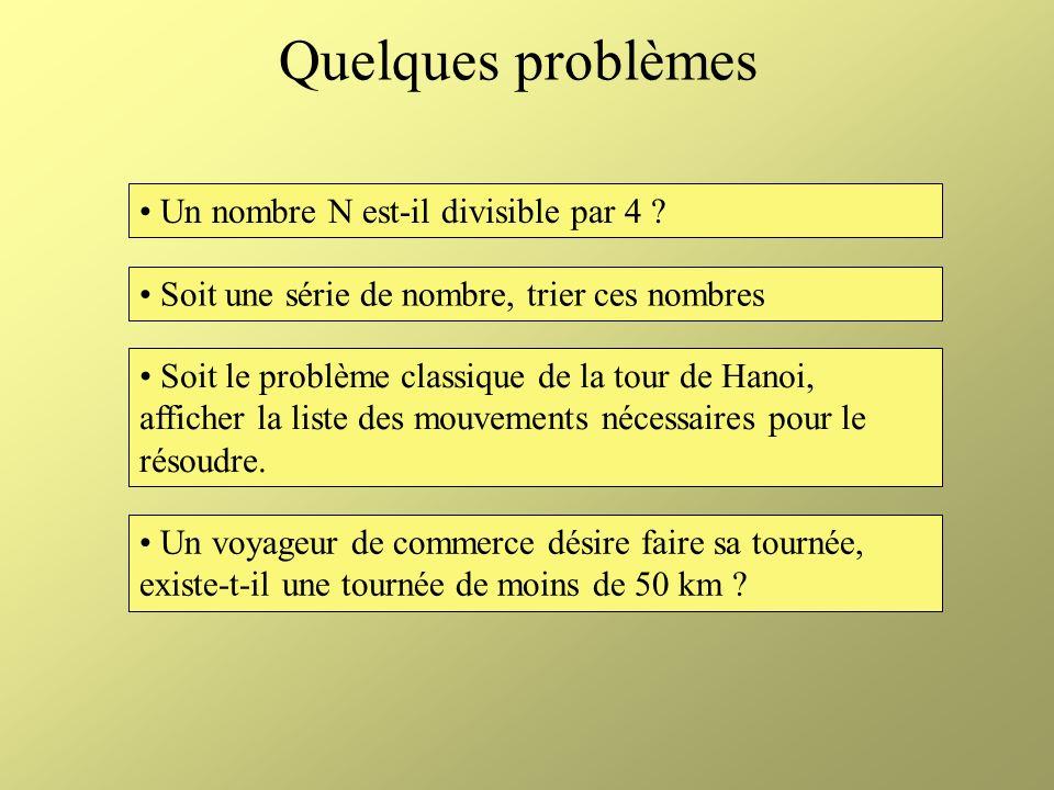 Quelques problèmes Un nombre N est-il divisible par 4