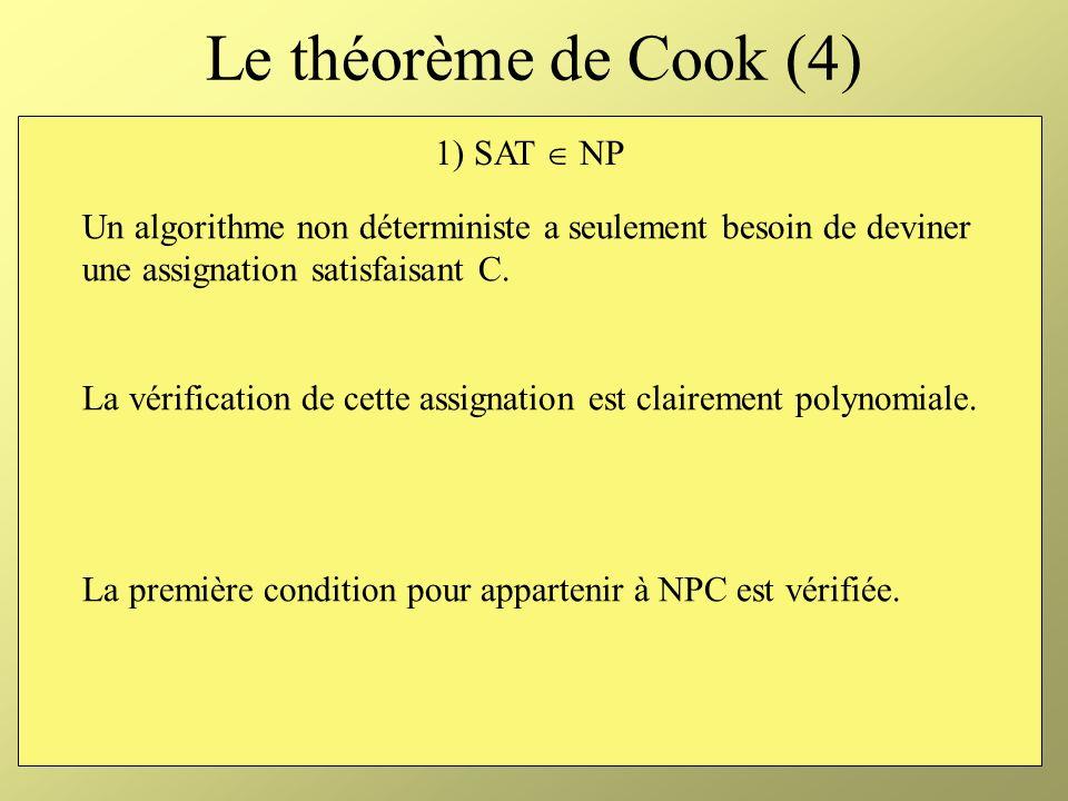 Le théorème de Cook (4) 1) SAT  NP
