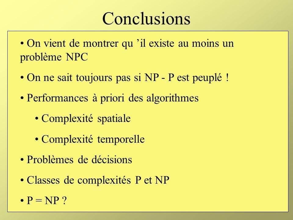 Conclusions On vient de montrer qu 'il existe au moins un problème NPC