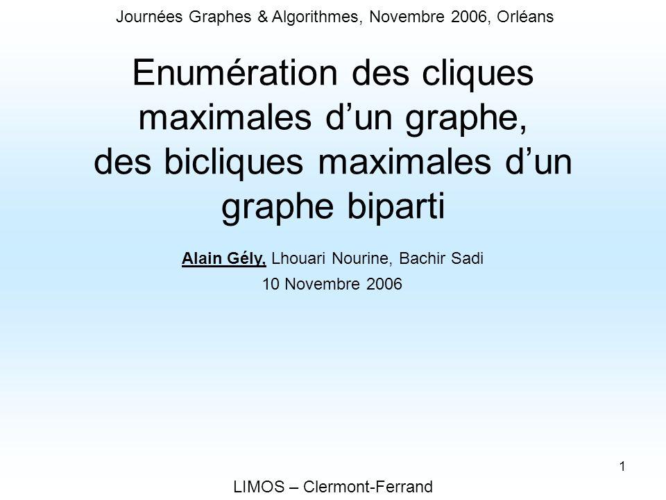 Journées Graphes & Algorithmes, Novembre 2006, Orléans