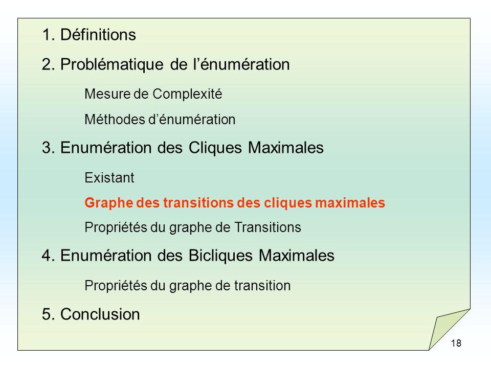 Problématique de l'énumération Mesure de Complexité