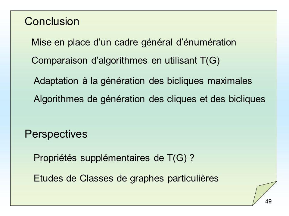 Conclusion Perspectives Mise en place d'un cadre général d'énumération