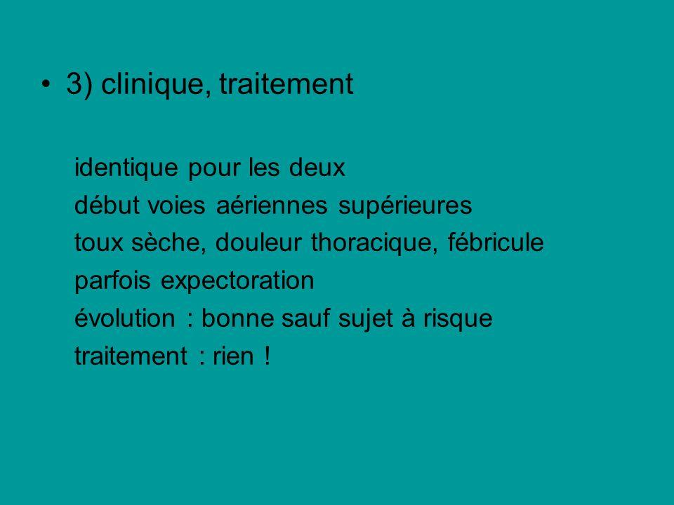 3) clinique, traitement identique pour les deux