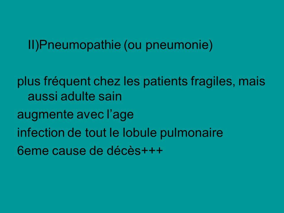 II)Pneumopathie (ou pneumonie)